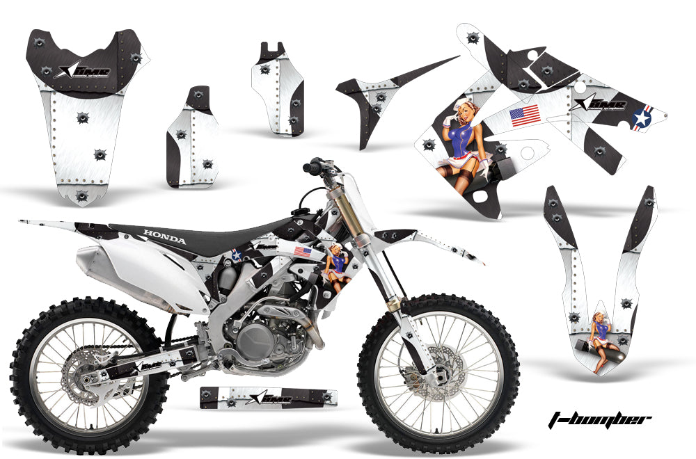 Dirt Bike Graphics Kit Decal Sticker Wrap For Honda CRF250R 2010-2013 TBOMBER WHITE-atv motorcycle utv parts accessories gear helmets jackets gloves pantsAll Terrain Depot
