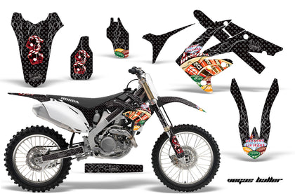 Dirt Bike Graphics Kit Decal Sticker Wrap For Honda CRF250R 2010-2013 VEGAS BLACK