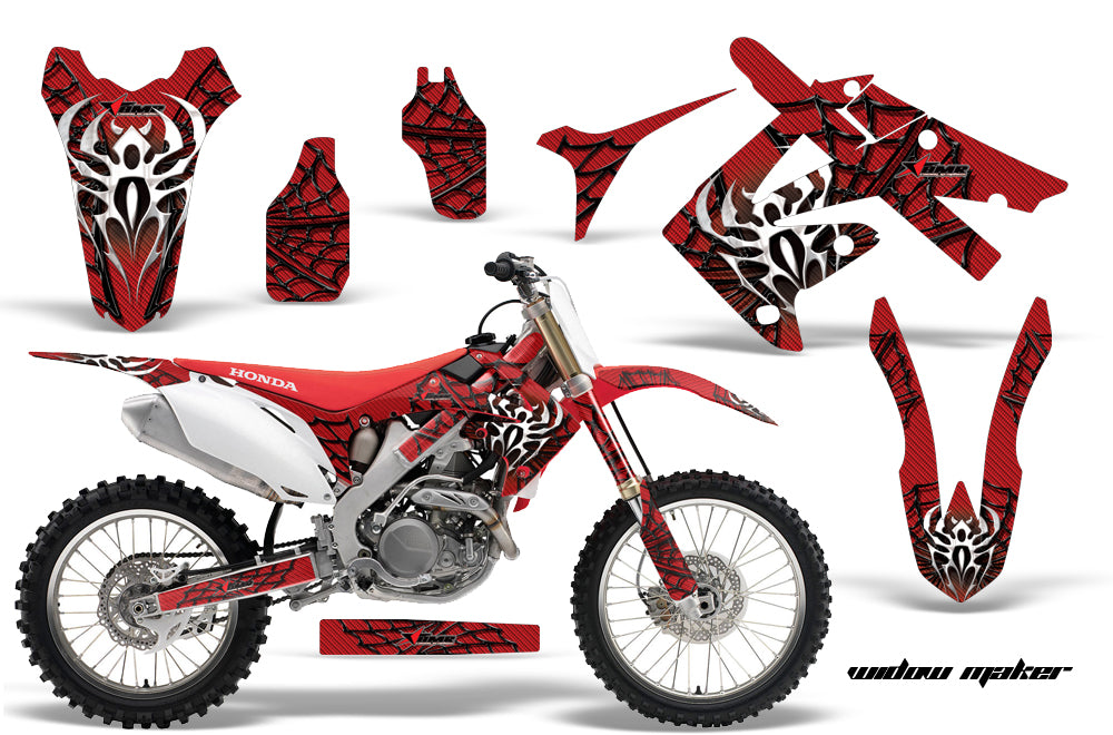 Dirt Bike Graphics Kit Decal Sticker Wrap For Honda CRF250R 2010-2013 WIDOW BLACK RED-atv motorcycle utv parts accessories gear helmets jackets gloves pantsAll Terrain Depot