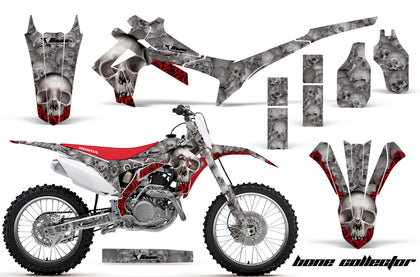 Dirt Bike Graphics Kit Decal Sticker Wrap For Honda CRF250R 2014-2017 BONES SILVER