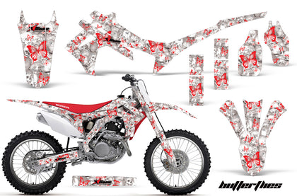 Dirt Bike Graphics Kit Decal Sticker Wrap For Honda CRF250R 2014-2017 BUTTERFLIES RED WHITE