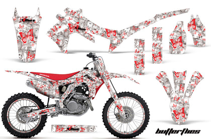 Graphics Kit Decal Sticker Wrap + # Plates For Honda CRF250R 2014-2017 BUTTERFLIES RED WHITE