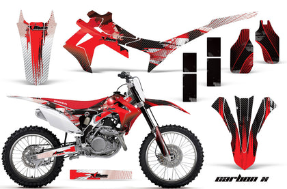 Dirt Bike Graphics Kit Decal Sticker Wrap For Honda CRF250R 2014-2017 CARBONX RED