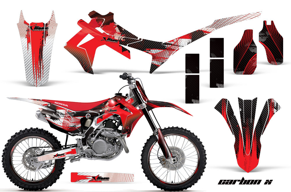 Graphics Kit Decal Sticker Wrap + # Plates For Honda CRF250R 2014-2017 CARBONX RED-atv motorcycle utv parts accessories gear helmets jackets gloves pantsAll Terrain Depot