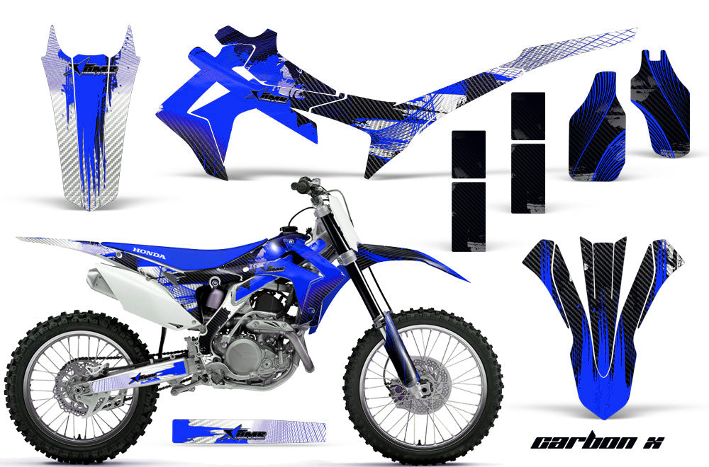 Dirt Bike Graphics Kit Decal Sticker Wrap For Honda CRF250R 2014-2017 CARBONX BLUE-atv motorcycle utv parts accessories gear helmets jackets gloves pantsAll Terrain Depot