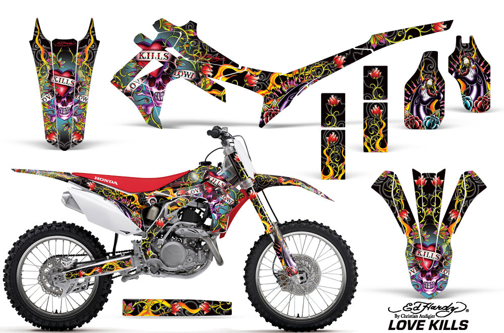 Dirt Bike Graphics Kit Decal Sticker Wrap For Honda CRF250R 2014-2017 EDHLK BLACK-atv motorcycle utv parts accessories gear helmets jackets gloves pantsAll Terrain Depot