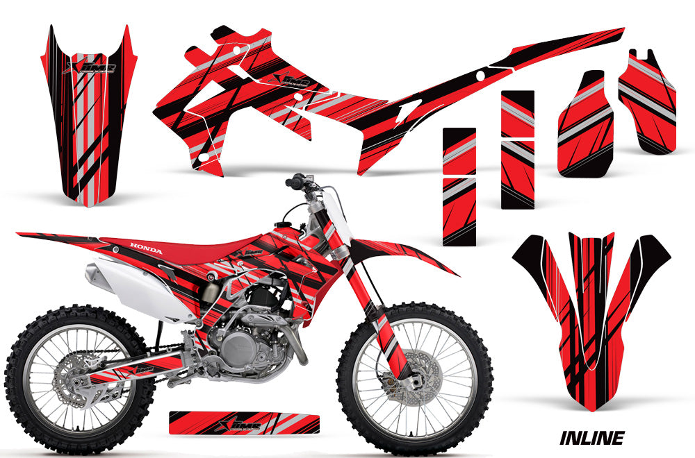 Dirt Bike Graphics Kit Decal Sticker Wrap For Honda CRF250R 2014-2017 INLINE RED BLACK-atv motorcycle utv parts accessories gear helmets jackets gloves pantsAll Terrain Depot
