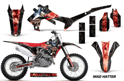 Dirt Bike Graphics Kit Decal Sticker Wrap For Honda CRF250R 2014-2017 HATTER RED BLACK
