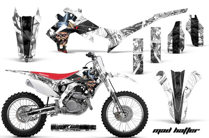 Dirt Bike Graphics Kit Decal Sticker Wrap For Honda CRF250R 2014-2017 HATTER BLACK WHITE