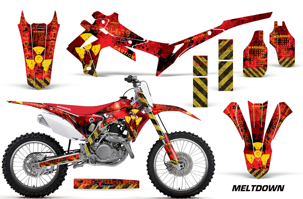 Dirt Bike Graphics Kit Decal Sticker Wrap For Honda CRF250R 2014-2017 MELTDOWN YELLOW RED-atv motorcycle utv parts accessories gear helmets jackets gloves pantsAll Terrain Depot