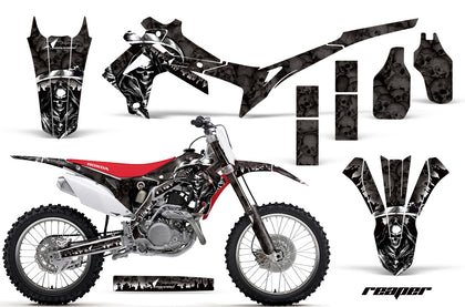 Dirt Bike Graphics Kit Decal Sticker Wrap For Honda CRF250R 2014-2017 REAPER BLACK