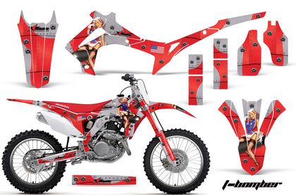 Dirt Bike Graphics Kit Decal Sticker Wrap For Honda CRF250R 2014-2017 TBOMBER RED