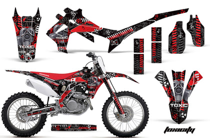 Dirt Bike Graphics Kit Decal Sticker Wrap For Honda CRF250R 2014-2017 TOXIC RED BLACK