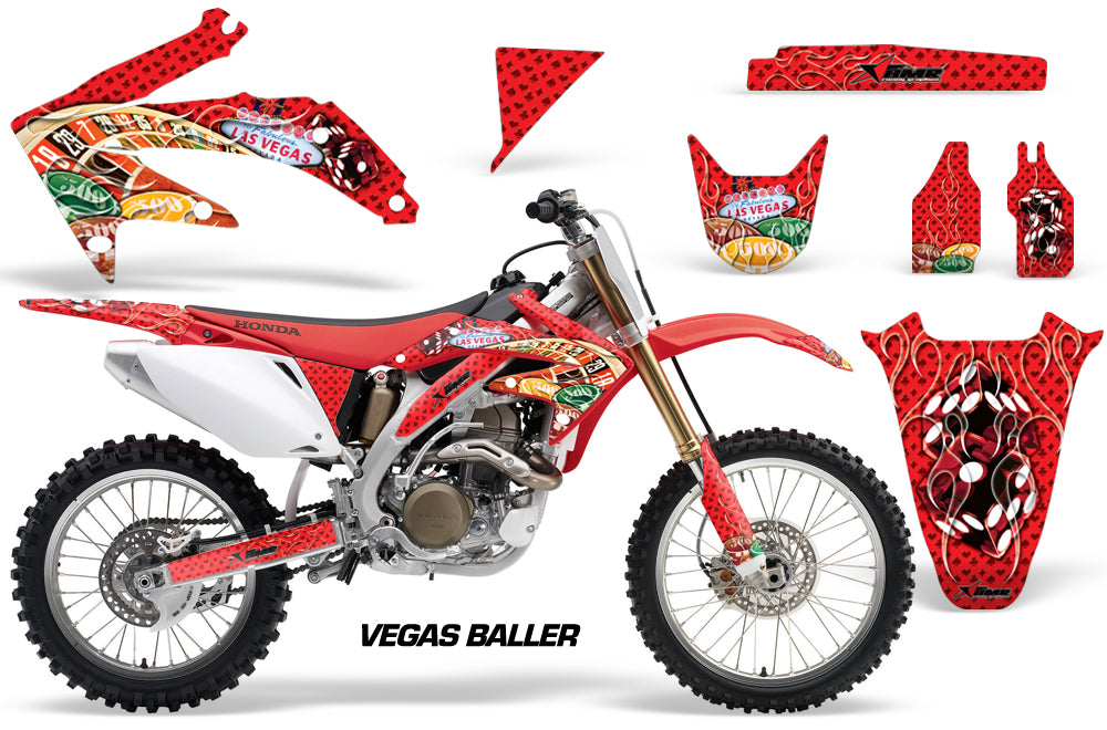 Dirt Bike Graphics Kit Decal Sticker Wrap For Honda CRF450R 2005-2008 VEGAS RED-atv motorcycle utv parts accessories gear helmets jackets gloves pantsAll Terrain Depot