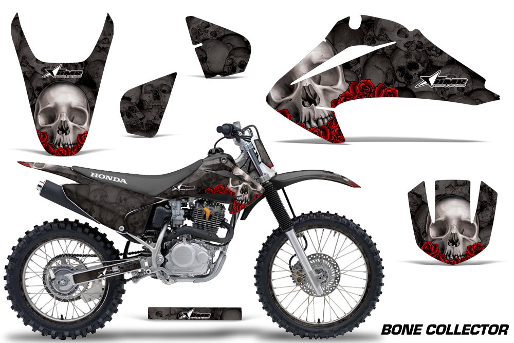 Graphics Kit Decal Wrap + # Plates For Honda CRF150 CRF230F 2003-2007 BONES BLACK-atv motorcycle utv parts accessories gear helmets jackets gloves pantsAll Terrain Depot