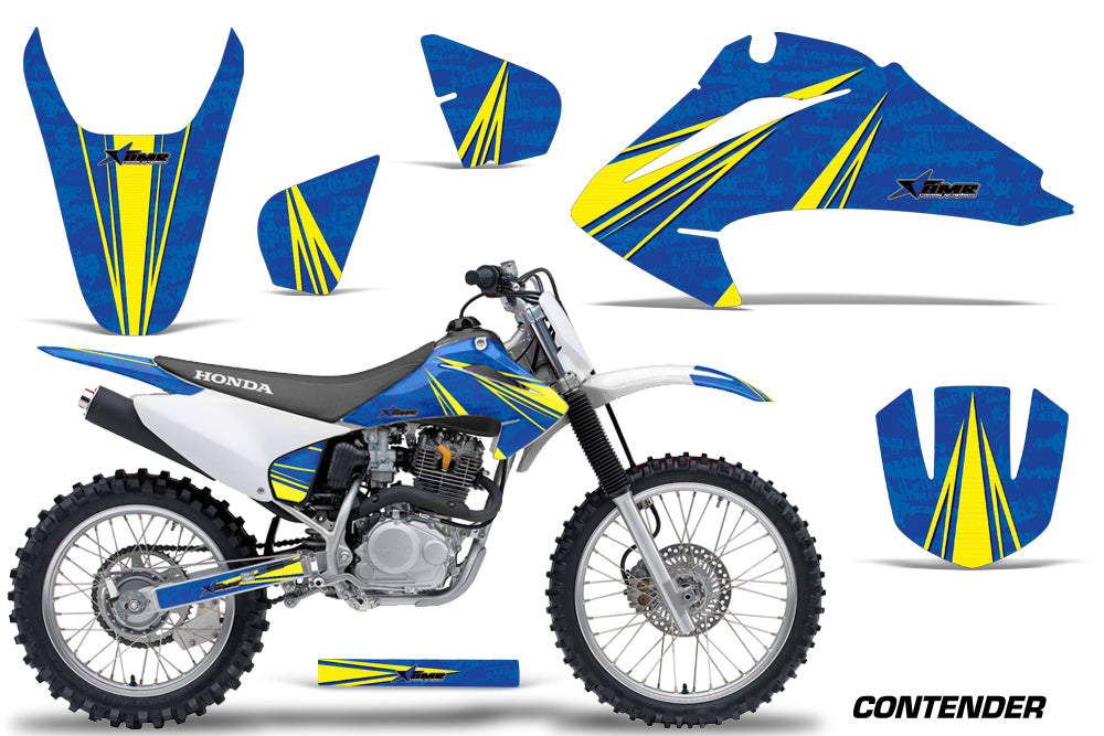 Dirt Bike Graphics Kit Decal Wrap For Honda CRF150 CRF230F 2003-2007 CONTENDER YELLOW BLUE-atv motorcycle utv parts accessories gear helmets jackets gloves pantsAll Terrain Depot