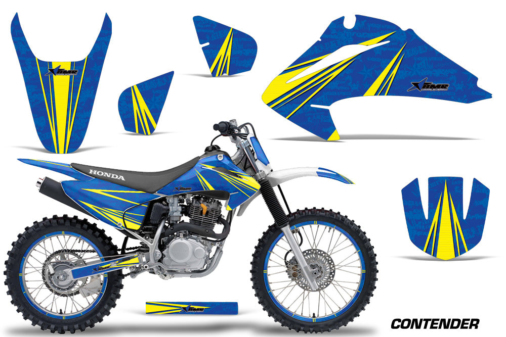 Graphics Kit Decal Wrap + # Plates For Honda CRF150 CRF230F 2003-2007 CONTENDER YELLOW BLUE-atv motorcycle utv parts accessories gear helmets jackets gloves pantsAll Terrain Depot