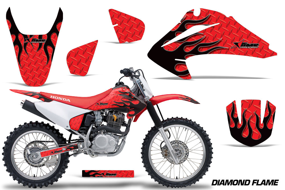 Dirt Bike Graphics Kit Decal Wrap For Honda CRF150 CRF230F 2003-2007 DIAMOND FLAMES BLACK RED-atv motorcycle utv parts accessories gear helmets jackets gloves pantsAll Terrain Depot