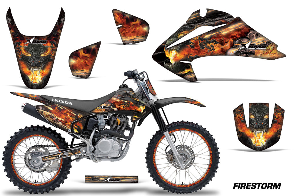 Graphics Kit Decal Wrap + # Plates For Honda CRF150 CRF230F 2003-2007 FIRESTORM BLACK-atv motorcycle utv parts accessories gear helmets jackets gloves pantsAll Terrain Depot