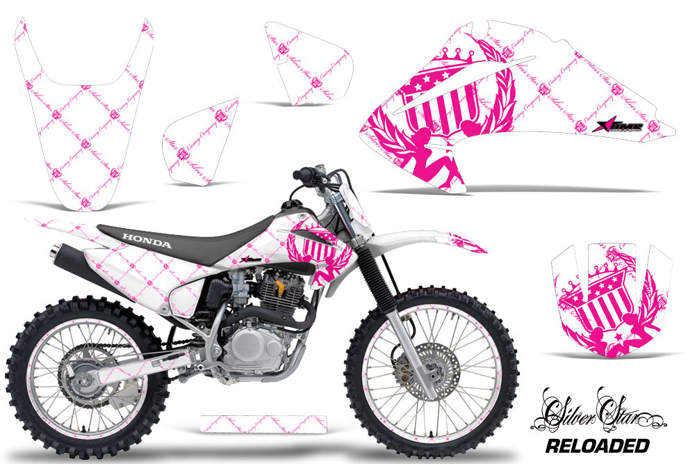 Graphics Kit Decal Wrap + # Plates For Honda CRF150 CRF230F 2003-2007 RELOADED PINK WHITE-atv motorcycle utv parts accessories gear helmets jackets gloves pantsAll Terrain Depot