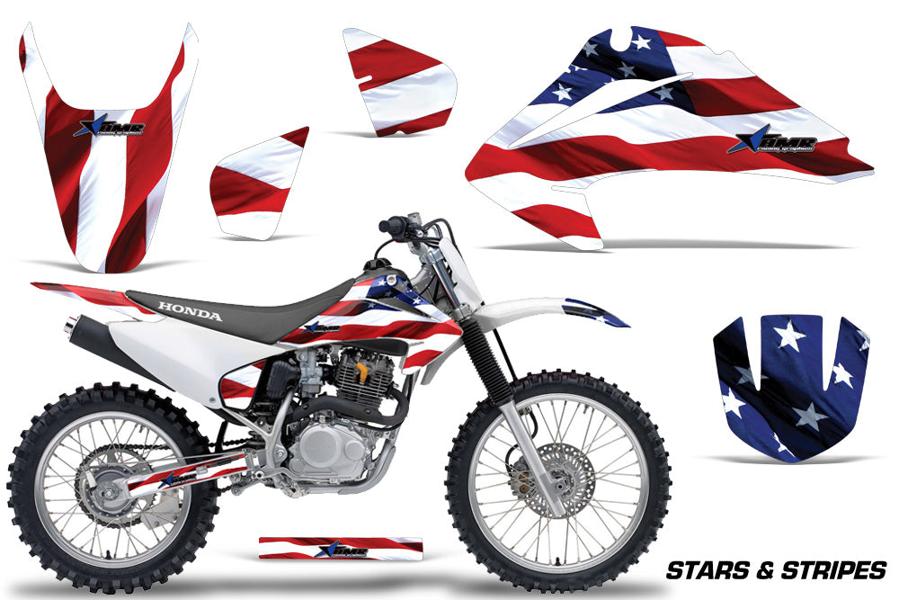 Dirt Bike Graphics Kit Decal Wrap For Honda CRF150 CRF230F 2003-2007 USA FLAGS-atv motorcycle utv parts accessories gear helmets jackets gloves pantsAll Terrain Depot