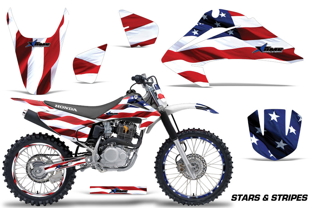 Graphics Kit Decal Wrap + # Plates For Honda CRF150 CRF230F 2003-2007 USA FLAG-atv motorcycle utv parts accessories gear helmets jackets gloves pantsAll Terrain Depot