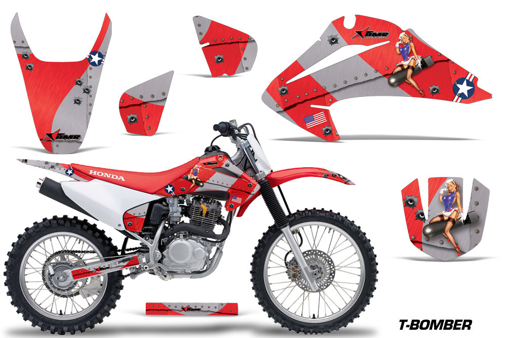 Dirt Bike Graphics Kit Decal Wrap For Honda CRF150 CRF230F 2003-2007 TBOMBER RED-atv motorcycle utv parts accessories gear helmets jackets gloves pantsAll Terrain Depot