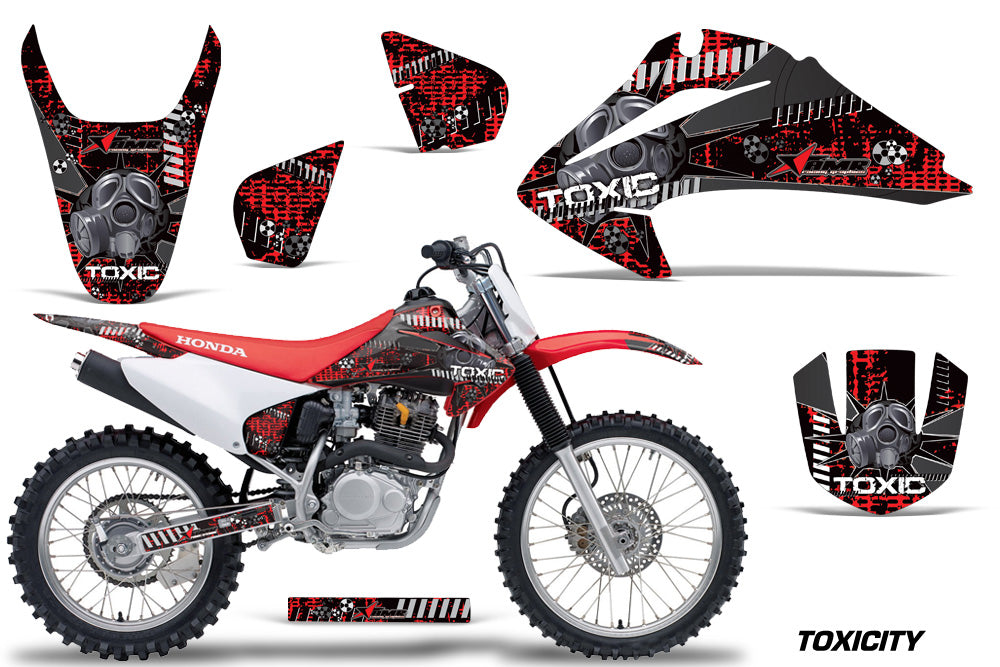 Dirt Bike Graphics Kit Decal Wrap For Honda CRF150 CRF230F 2003-2007 TOXIC BLACK RED-atv motorcycle utv parts accessories gear helmets jackets gloves pantsAll Terrain Depot