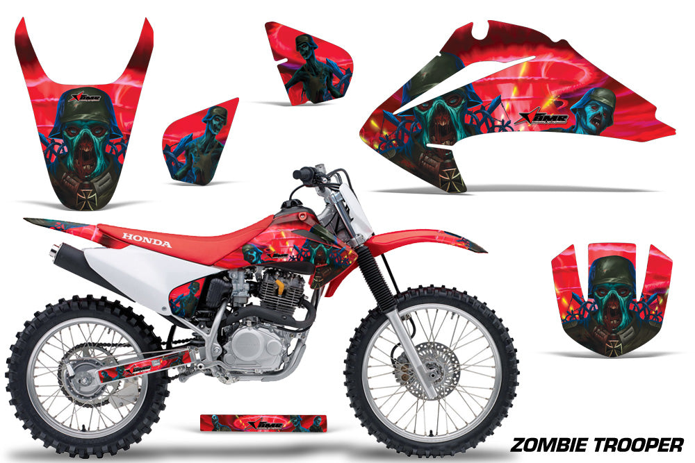 Dirt Bike Graphics Kit Decal Wrap For Honda CRF150 CRF230F 2003-2007 ZOMBIE RED-atv motorcycle utv parts accessories gear helmets jackets gloves pantsAll Terrain Depot