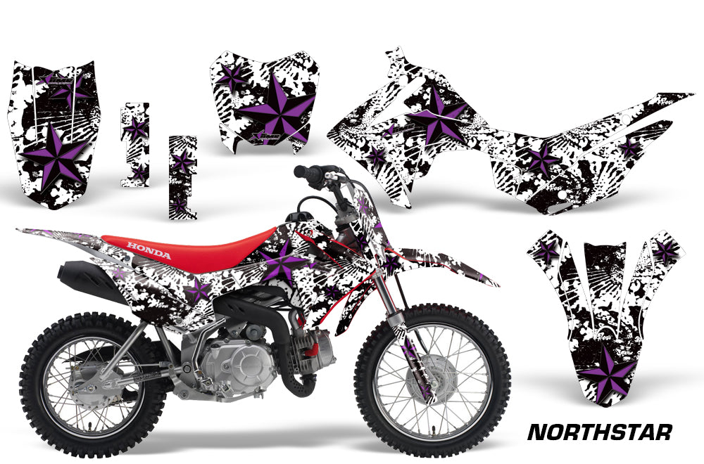 Dirt Bike Decal Graphic Kit Wrap For Honda CRF110 CRF 110 2013-2018 NORTHSTAR PURPLE WHITE-atv motorcycle utv parts accessories gear helmets jackets gloves pantsAll Terrain Depot