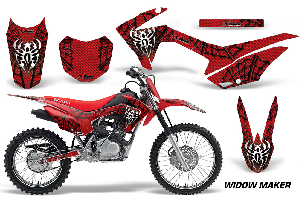 Honda CRF125F Graphics Kit Dirt Bike Wrap MX Stickers Decals 2014-2018 WIDOW BLACK RED-atv motorcycle utv parts accessories gear helmets jackets gloves pantsAll Terrain Depot