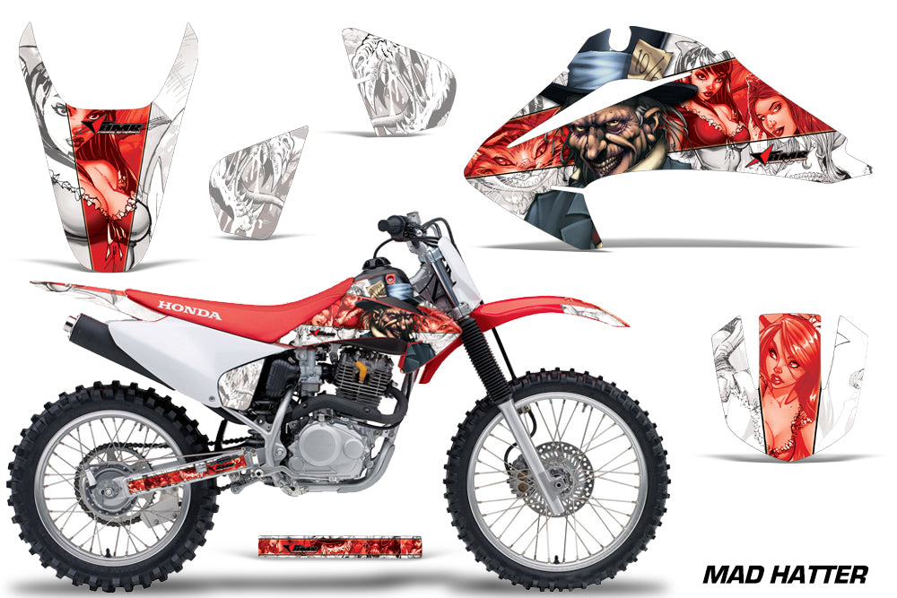 Dirt Bike Graphics Kit Decal Wrap For Honda CRF150 CRF230F 2003-2007 HATTER RED WHITE-atv motorcycle utv parts accessories gear helmets jackets gloves pantsAll Terrain Depot