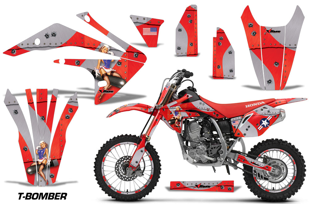 Graphics Kit Decal Sticker Wrap + # Plates For Honda CRF150R 2017-2018 TBOMBER RED-atv motorcycle utv parts accessories gear helmets jackets gloves pantsAll Terrain Depot