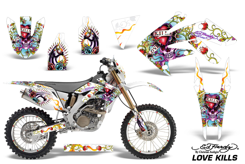 Graphics Kit Decal Sticker Wrap + # Plates For Honda CRF250X 2004-2017 EDHLK WHITE-atv motorcycle utv parts accessories gear helmets jackets gloves pantsAll Terrain Depot