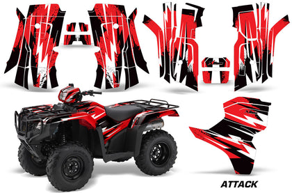ATV Decal Graphic Kit Quad Wrap For Honda Foreman 500 2015-2018 ATTACK RED-atv motorcycle utv parts accessories gear helmets jackets gloves pantsAll Terrain Depot