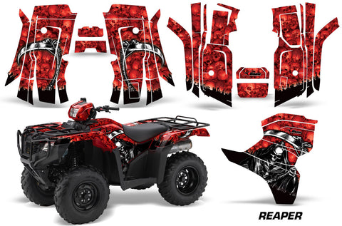 ATV Decal Graphic Kit Quad Wrap For Honda Foreman 500 2015-2018 REAPER RED