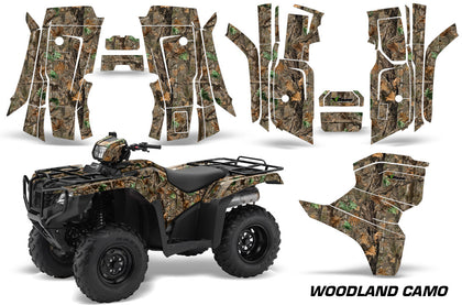 ATV Decal Graphic Kit Quad Wrap For Honda Foreman 500 2015-2018 WOODLAND CAMO-atv motorcycle utv parts accessories gear helmets jackets gloves pantsAll Terrain Depot