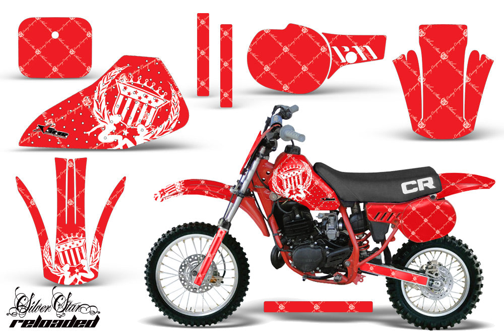 Dirt Bike Graphics Kit Decal Sticker Wrap For Honda CR60 CR 60 1984-1985 RELOADED WHITE RED-atv motorcycle utv parts accessories gear helmets jackets gloves pantsAll Terrain Depot