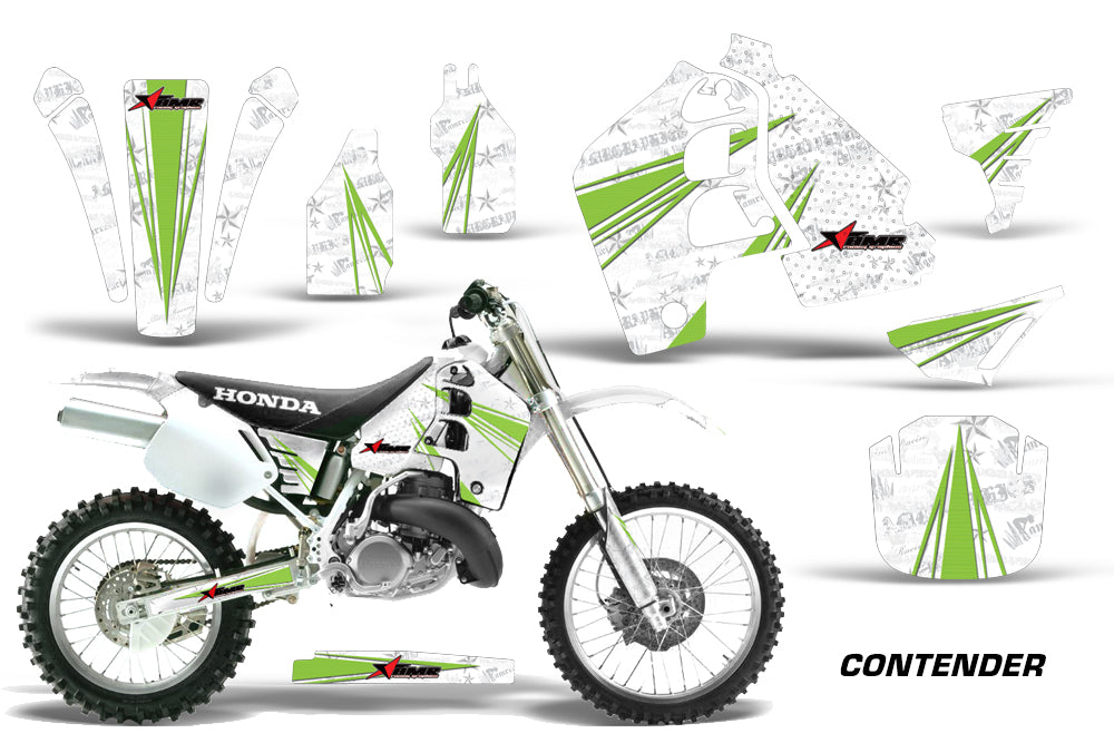 Dirt Bike Graphics Kit MX Decal Wrap For Honda CR500 CR 500 1989-2001 CONTENDER GREEN WHITE-atv motorcycle utv parts accessories gear helmets jackets gloves pantsAll Terrain Depot