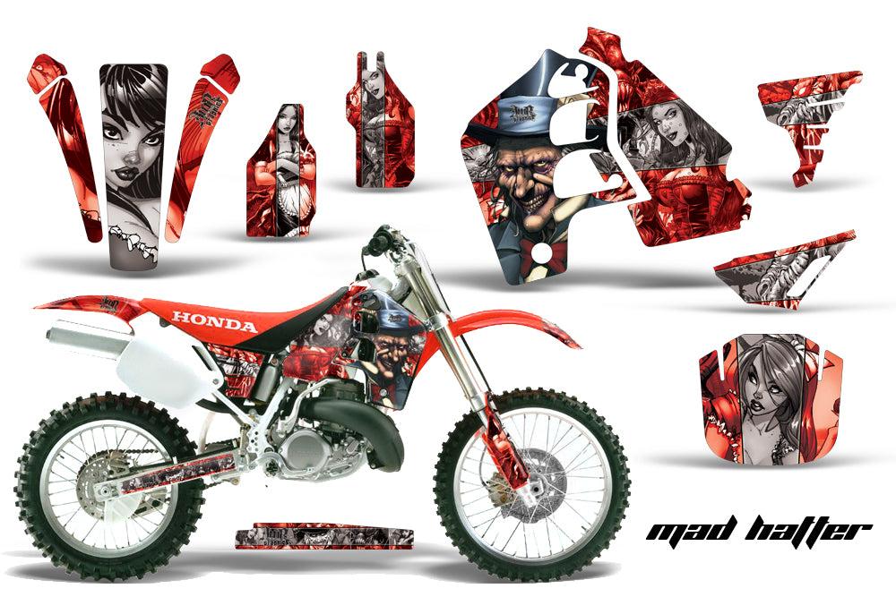 Dirt Bike Graphics Kit MX Decal Wrap For Honda CR500 CR 500 1989-2001 HATTER RED SILVER-atv motorcycle utv parts accessories gear helmets jackets gloves pantsAll Terrain Depot