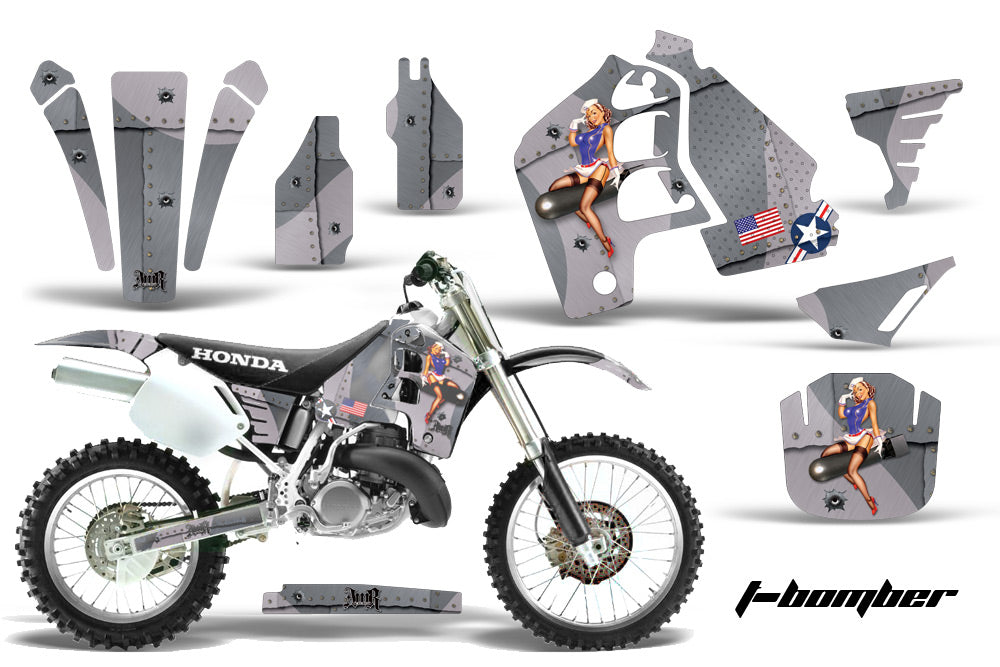 Dirt Bike Graphics Kit MX Decal Wrap For Honda CR500 CR 500 1989-2001 TBOMBER SILVER-atv motorcycle utv parts accessories gear helmets jackets gloves pantsAll Terrain Depot