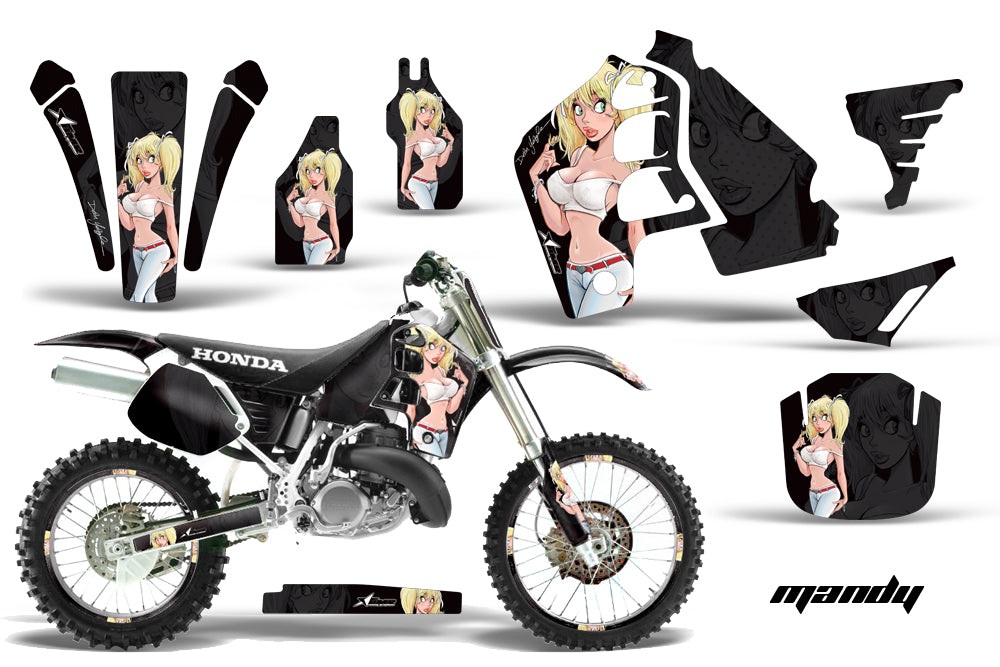 Graphics Kit MX Decal Wrap + # Plates For Honda CR500 CR 500 1989-2001 MANDY WHITE BLACK-atv motorcycle utv parts accessories gear helmets jackets gloves pantsAll Terrain Depot