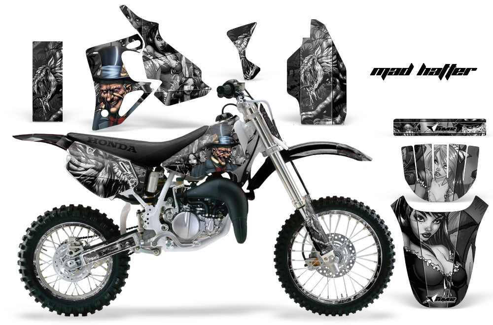 Graphics Kit MX Decal Wrap + # Plates For Honda CR80 CR 80 1996-2002 HATTER SILVER BLACK