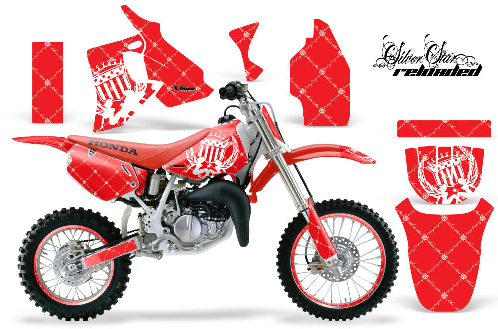 Graphics Kit MX Decal Wrap + # Plates For Honda CR80 CR 80 1996-2002 RELOADED WHITE RED