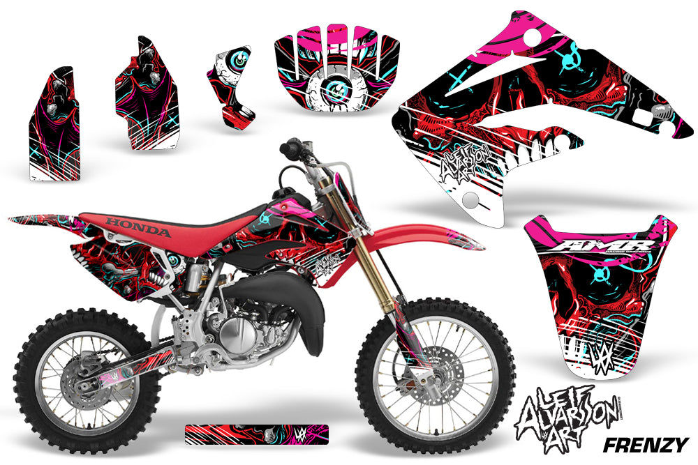 Graphics Kit MX Decal Wrap + # Plates For Honda CR85 CR 85 2003-2007 FRENZY RED-atv motorcycle utv parts accessories gear helmets jackets gloves pantsAll Terrain Depot