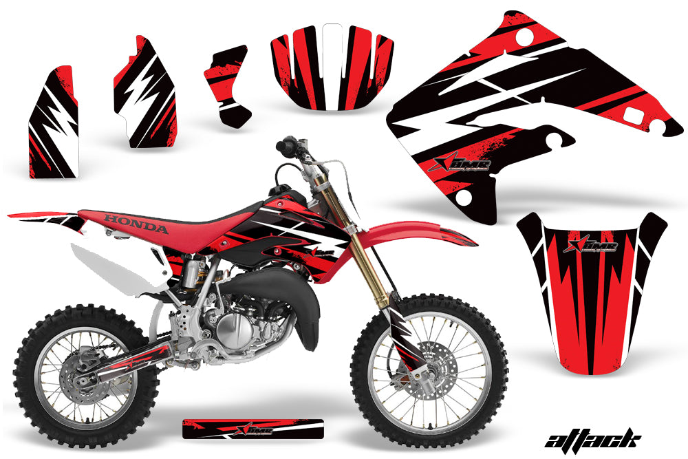 Dirt Bike Graphics Kit MX Decal Wrap For Honda CR85 CR 85 2003-2007 ATTACK RED-atv motorcycle utv parts accessories gear helmets jackets gloves pantsAll Terrain Depot