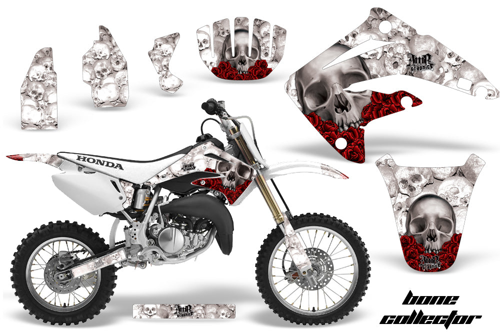 Dirt Bike Graphics Kit MX Decal Wrap For Honda CR85 CR 85 2003-2007 BONES WHITE-atv motorcycle utv parts accessories gear helmets jackets gloves pantsAll Terrain Depot