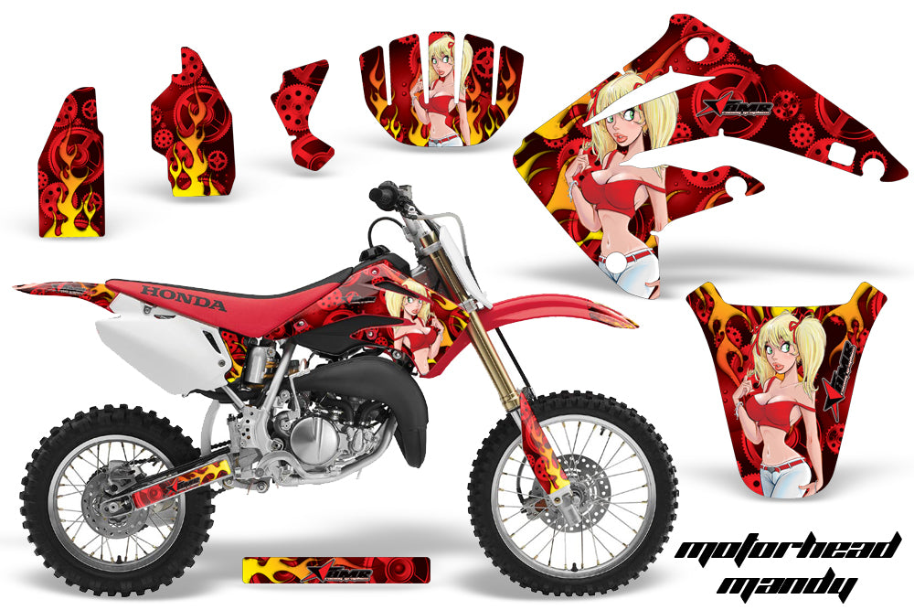 Dirt Bike Graphics Kit MX Decal Wrap For Honda CR85 CR 85 2003-2007 MOTO MANDY RED-atv motorcycle utv parts accessories gear helmets jackets gloves pantsAll Terrain Depot