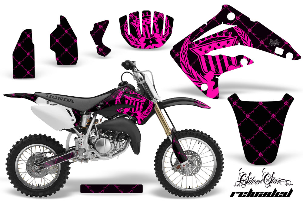 Dirt Bike Graphics Kit MX Decal Wrap For Honda CR85 CR 85 2003-2007 RELOADED PINK BLACK-atv motorcycle utv parts accessories gear helmets jackets gloves pantsAll Terrain Depot