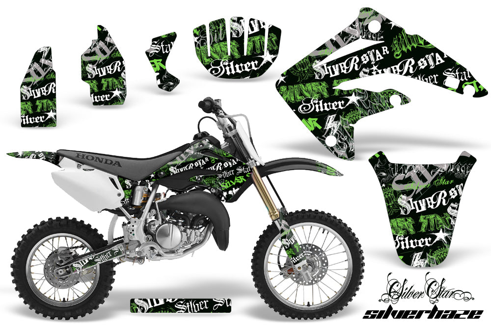 Dirt Bike Graphics Kit MX Decal Wrap For Honda CR85 CR 85 2003-2007 SSSH GREEN BLACK